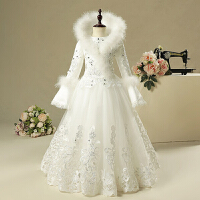 冬长袖白色厚款花童礼服女保暖公主裙结婚中大童女童主持人演出服 白色