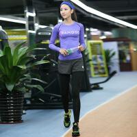 运动健身房长袖瑜伽服套装 长裤女紧身跑步速干两件套