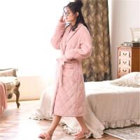 睡袍女冬珊瑚绒加厚保暖秋冬款加长版法兰绒夹棉家居服系带睡衣 豆沙色
