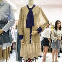 韩国ulzzang2018春新款拼接撞色单排扣格子长裙荷叶边鱼尾连衣裙