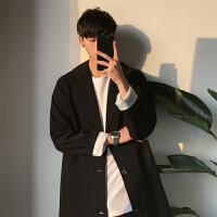 韩观春秋季中长款男士毛呢外套呢子风衣韩版宽松休闲大衣中长款外套潮 黑色