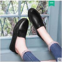 古奇天伦新款老人平底奶奶鞋皮鞋女圆头软底舒适真皮中老年妈妈女鞋子FS08911-1