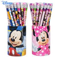 迪士尼儿童HB铅笔小学生橡皮头铅笔桶装48支装桶装带皮头铅笔
