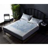 家纺冰丝席1.8m床三件套夏季可折叠机洗夏天欧式花纹空调凉席柔软席子