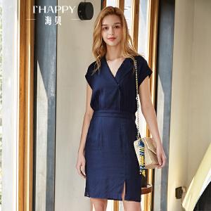 海贝2018夏装新款女藏青色西装领松紧收腰开衩修身短袖连衣裙短裙
