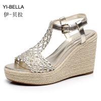 YIBELLA草编麻底坡跟鞋2017夏季新款网状超高跟凉鞋欧美女鞋