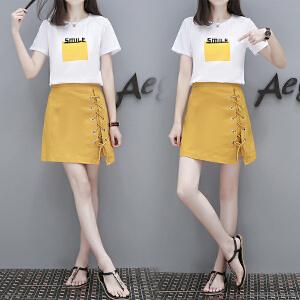 AGECENTRE 2018春夏新款韩版时尚套装学生短袖T恤女高腰a字半身短裙两件套裙