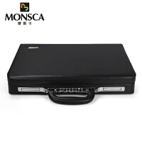 摩斯卡MONSCA 商务系列大容量手提箱公文箱密码箱PU皮配牛皮材质电脑文件箱包