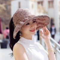 太阳帽女户外防晒韩版潮百搭遮阳可折叠蕾丝空顶女士大檐凉帽