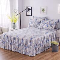 全棉单件床罩纯棉床裙式床套防滑1.8米2.0m床单保护套