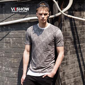 viishow夏装新款圆领短袖T恤男 民族风印花型图案t恤 潮青年体恤