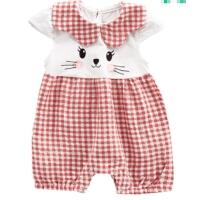 女宝宝夏装短袖爬爬服格子拼接卡通连体衣夏季薄款连体衣