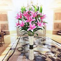 假花仿真花客厅落地摆件郁金香百合桃花绢花家居装饰花束塑料花