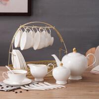 陶瓷咖啡杯套装家用简约英式下午茶茶具欧式小花茶杯咖啡套具 15件