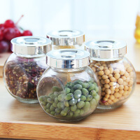 圆形厨房玻璃密封罐透明储物罐蜂蜜瓶茶叶罐干果储藏收纳罐