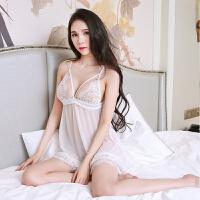 蕾丝吊带睡裙 性感诱惑系带睡衣 透明三点式情趣内衣
