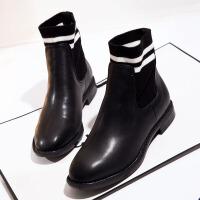 2017秋冬新款女鞋真皮女靴低跟平底短靴单靴子欧美马丁靴学生