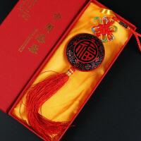 北京漆雕漆器中国结车挂件挂饰 中国色出国礼物留学外事小礼品 福寿 红黑