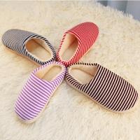 家居冬季保暖棉拖鞋男女情侣室内条纹防滑包跟拖鞋