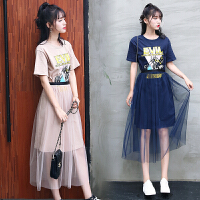 裙子女夏2018新款韩版印花T恤网纱连衣裙两件套女套装裙潮
