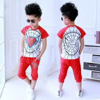 夏季新款中大童童装男童套装儿童服装蜘蛛侠超人衣服短袖t恤裤子两件套