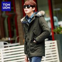 [1.5折价75.9元,仅限17-21日]唐狮男士外套韩版休闲时尚中长款毛领棉衣男外套