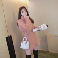 冬季水貂绒高领毛衣针织衫套头中长款长袖宽松毛绒绒外套女打底衫