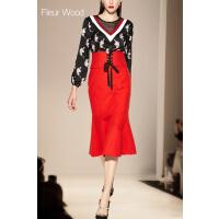 FLEUR WOOD2017秋装新款女装欧洲站显瘦西装领中长款风衣外套