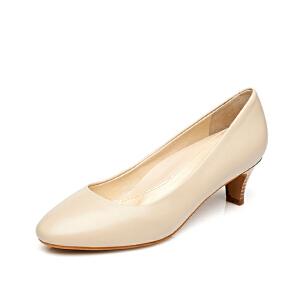 达芙妮/杜拉拉 春夏款 粗中跟圆头羊皮通勤优雅女单鞋1715101902