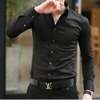 春秋男士韩版修身长袖衬衫黑色潮男衬衣发型师KTV工作服伴郎寸衫