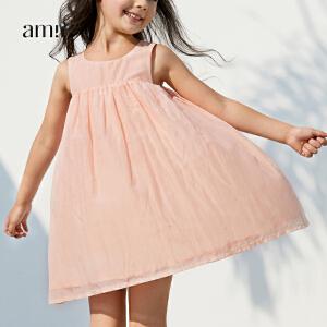 【尾品汇 5折直降】amii女中大儿童连衣裙2018夏装新款韩版洋气公主A字娃娃裙