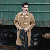 呢大衣男中长款韩版冬新款牛角扣风衣男士加厚过膝毛呢子外套