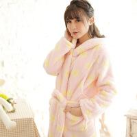 梦蜜 舒棉绒孕妇睡袍冬季产妇哺乳家居袍子加厚珊瑚绒产后喂奶袍