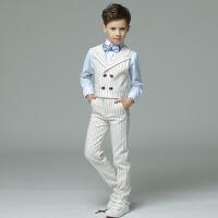 儿童礼服男宝生日英伦小花童礼服男 男童礼服夏双排扣短袖马甲套装
