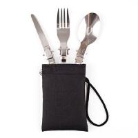 野营餐具三件套 多功能不锈钢餐刀 户外旅行餐具 户外便携式套装 3件套