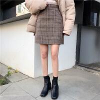 春装女装韩版高腰百搭格子半身裙呢子短裙A字裙学生格子裙包臀裙