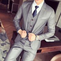 17新品韩版西装套装男士西服修身商务休闲灰色免烫四季婚礼礼服