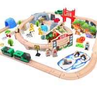 木质制积木小火车套装轨道赛车电动高铁和谐号儿童玩具男孩 送合金车+电池+螺丝刀
