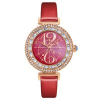 个性指针女士防水石英手表皮带水钻时装表时尚潮流商务腕表