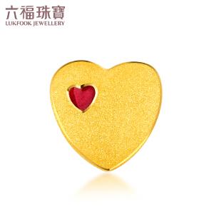 六福珠宝心形珐琅工艺足金转运珠女黄金手镯串珠挂坠 HXG70219