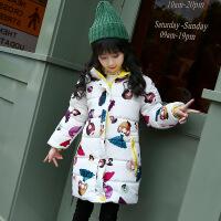 2017冬季新款女童卡通棉衣中长款儿童潮流加厚连帽小女孩外套
