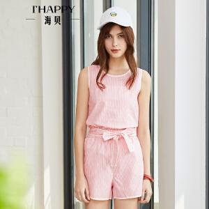 海贝2018夏装新款女圆领无袖条纹小衫收腰系带短裤时尚套装两件套