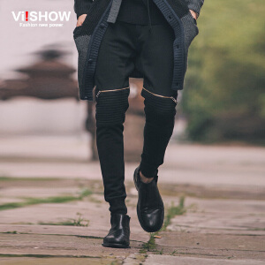 viishow秋装新款休闲长裤 欧美街头系带休闲裤 男卫裤修身潮 K*9653