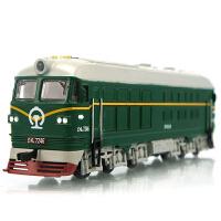 东风火车头合金声光回力古典绿皮火车模型儿童玩具车地铁轻轨