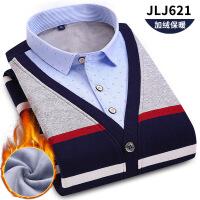 秋冬新款男士长袖加绒加厚保暖衬衫假两件鸡心领套头衫针织衫 JJ-621