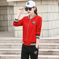 卫衣女春秋新品韩版修身时尚三件套大码运动休闲套装女棒球服 X
