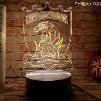 小夜灯桌摆装饰AC米兰皇马曼联队徽3D灯足球台灯摆件球迷纪念品 广州恒大ZQ1暖色 暖黄 暖白