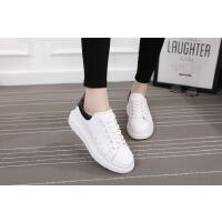 小白鞋女春秋明星同款系带厚底透气休闲鞋新款板鞋潮鞋 白色