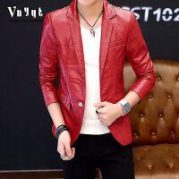 秋冬休闲皮衣个性男士皮夹克仿皮皮衣外套修身型青年韩版男 5/XL 1到135斤