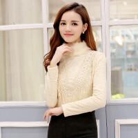 春秋款韩版兔毛高领加绒加厚打底衫长袖女上衣百搭蕾丝衫